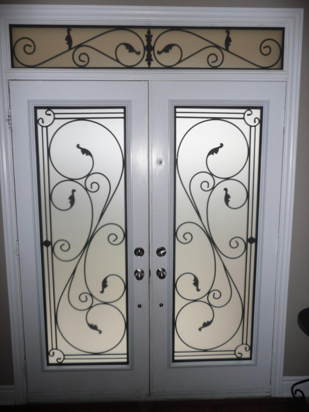 Flamingo-Bay-Wrought-Iron-Glass-Door-Inserts-Barrie-Ontario