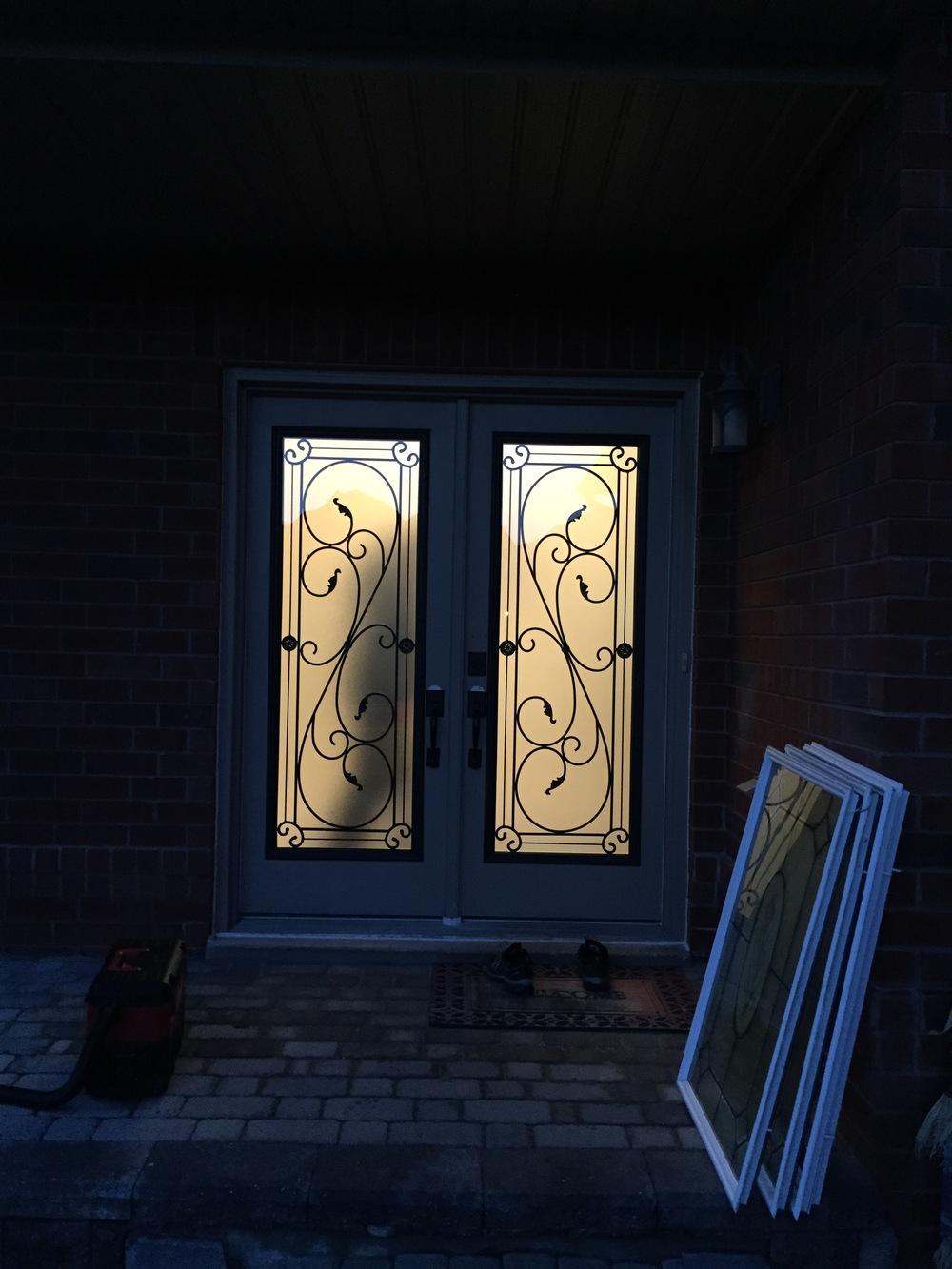 Flamingo-Bay-Wrought-Iron-Glass-Door-Inserts-Wasaga-Beach-Ontario
