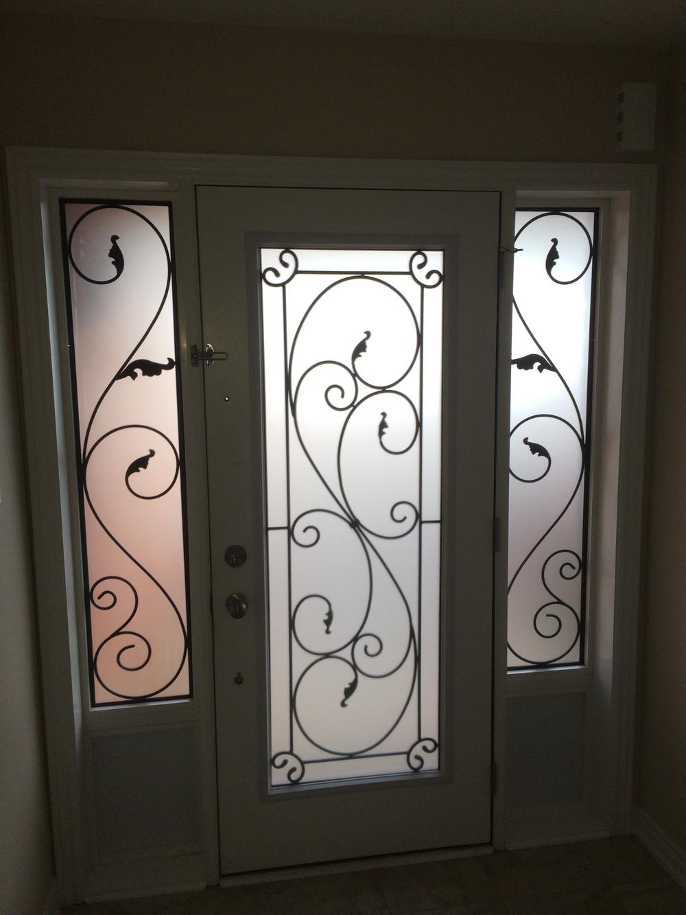 Flamingo-Bay-Wrought-Iron-Glass-Door-Inserts-Alliston-Ontario