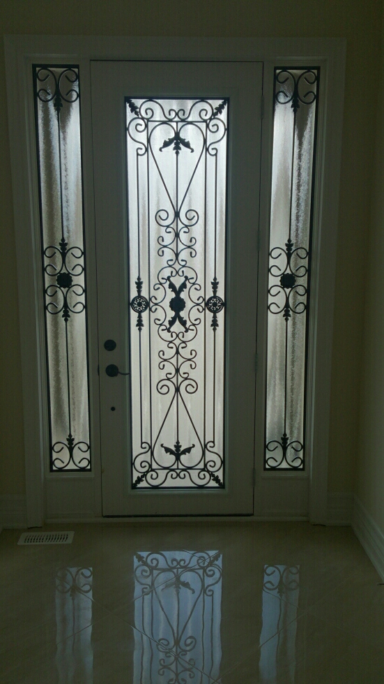 Port-Stnley-Wrought-iron-Glass-Door-Inserts-The-Blue-Mountains-Ontario