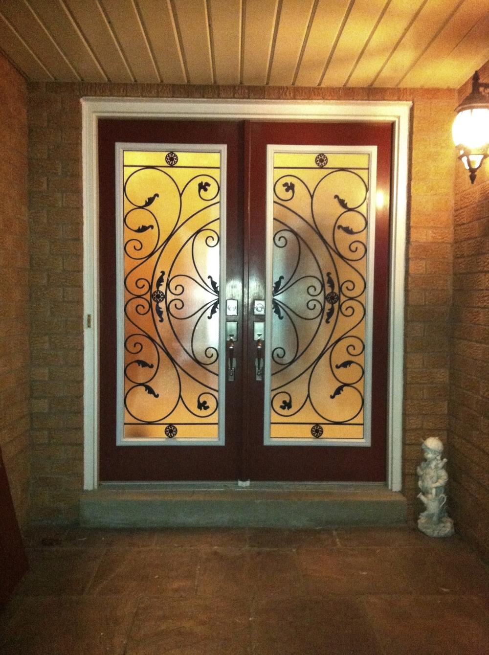 Campbellsford-Wrought-Iron-Glass-Door-Inserts-Oakville-Ontario