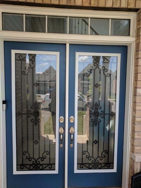Dalmont-wrought-iron-glass-door-Inserts-Burlington-Ontario