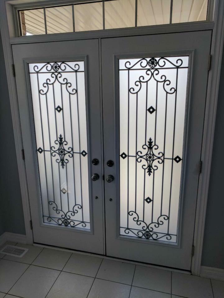Dalmont-wrought-iron-glass-door-Inserts-Milton-Ontario