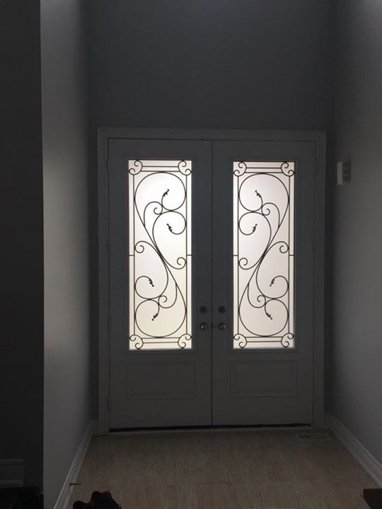 Flamingo-Bay-Wrought-Iron-Glass-Door-Inserts-King-City-Ontario