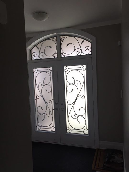 Flamingo-Bay-Wrought-Iron-Glass-Door-Inserts-Nobleton-Ontario