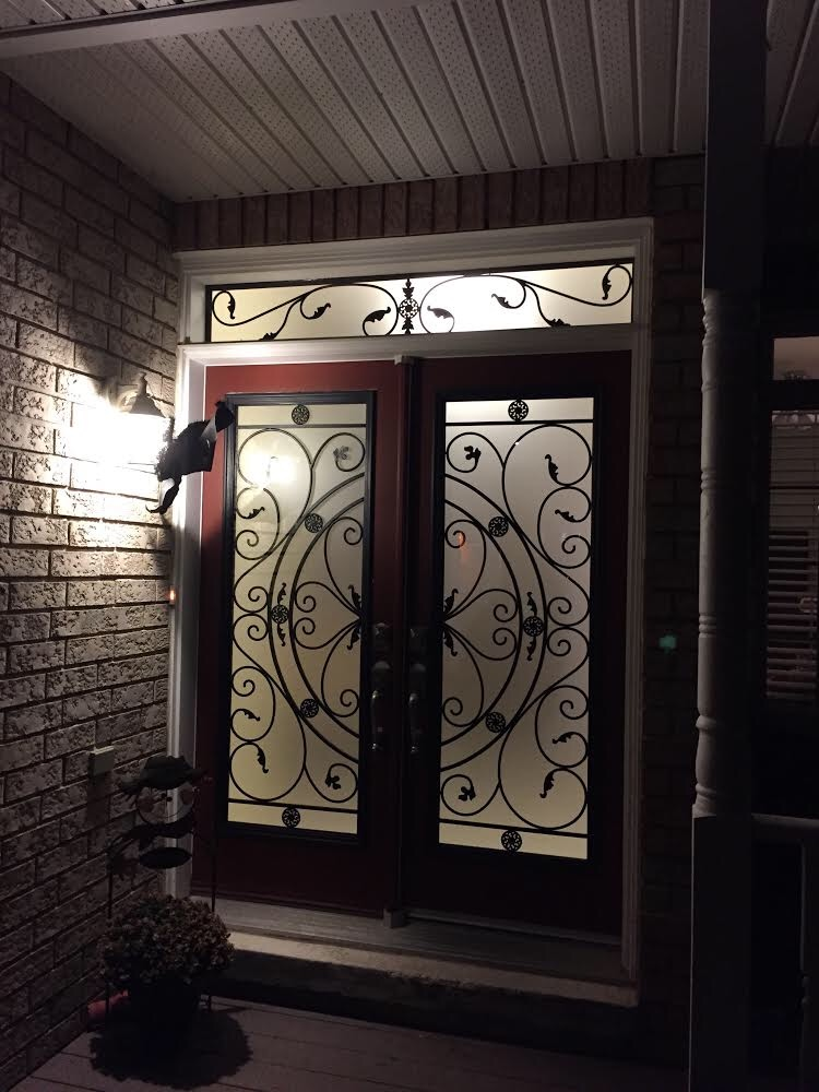 Campbellsford-Wrought-Iron-Glass-Door-Inserts-orillia-Ontario