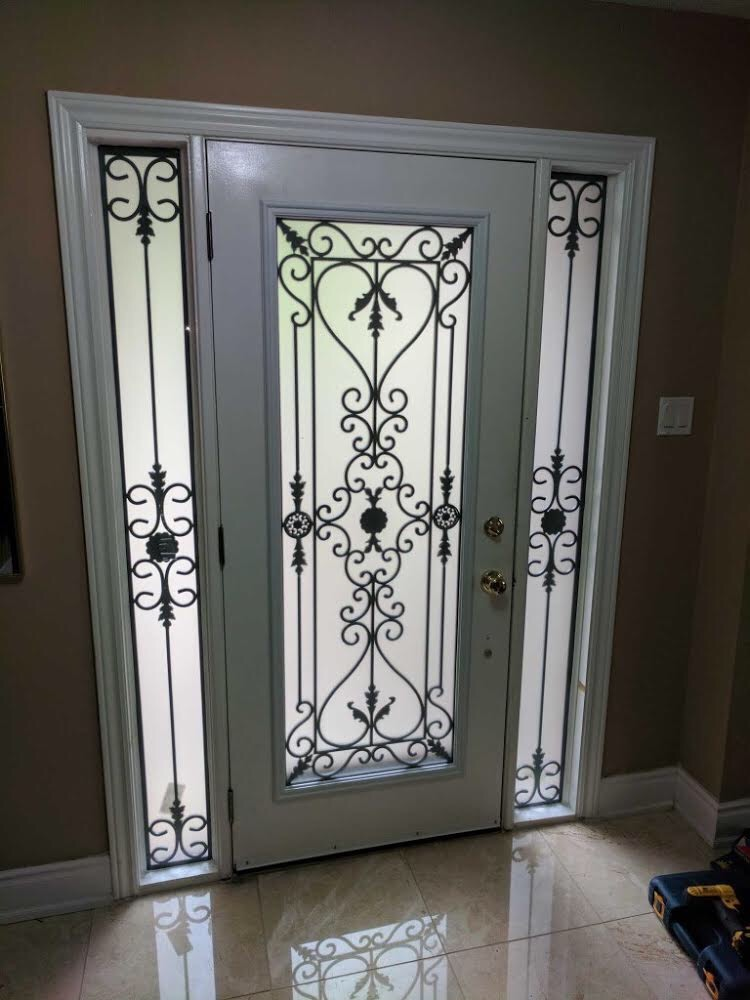 Port-Stnley-Wrought-iron-Glass-Door-Inserts-Bowmanville-Ontario