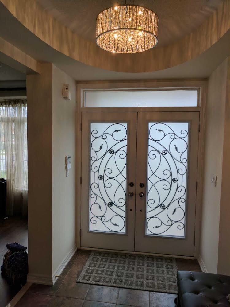 Whitfield-wrought-iron-glass-door-inserts-installtion-in-barrie-on