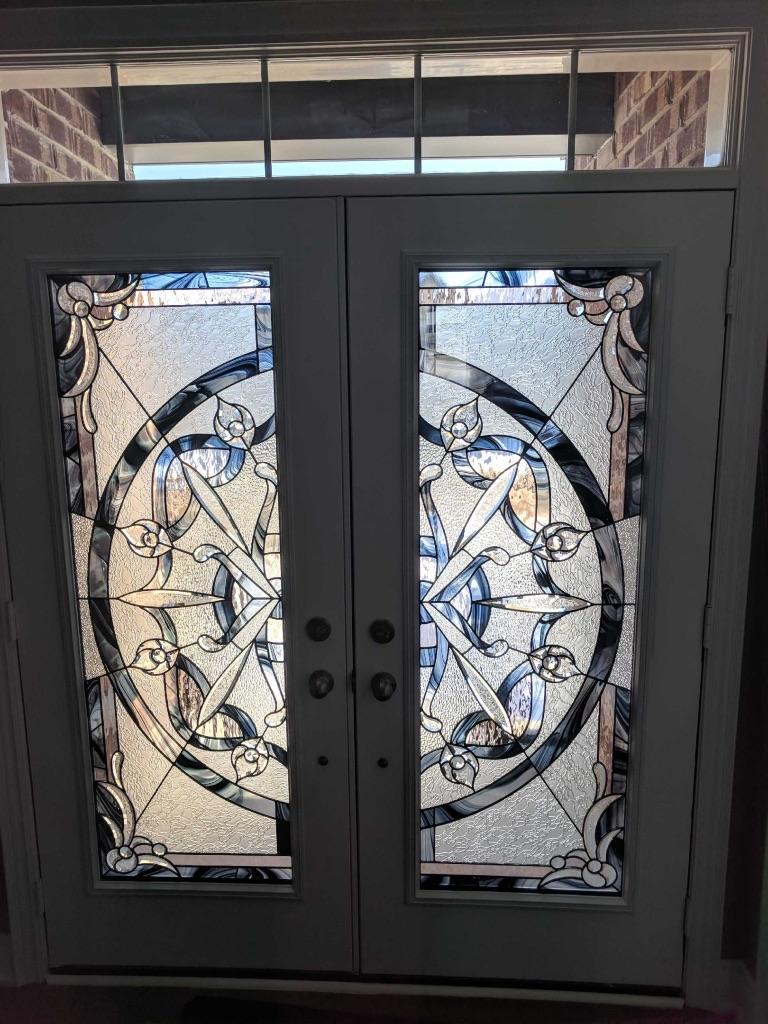 Distinctive Glass Inserts Wrought Iron Decorative Glass Door