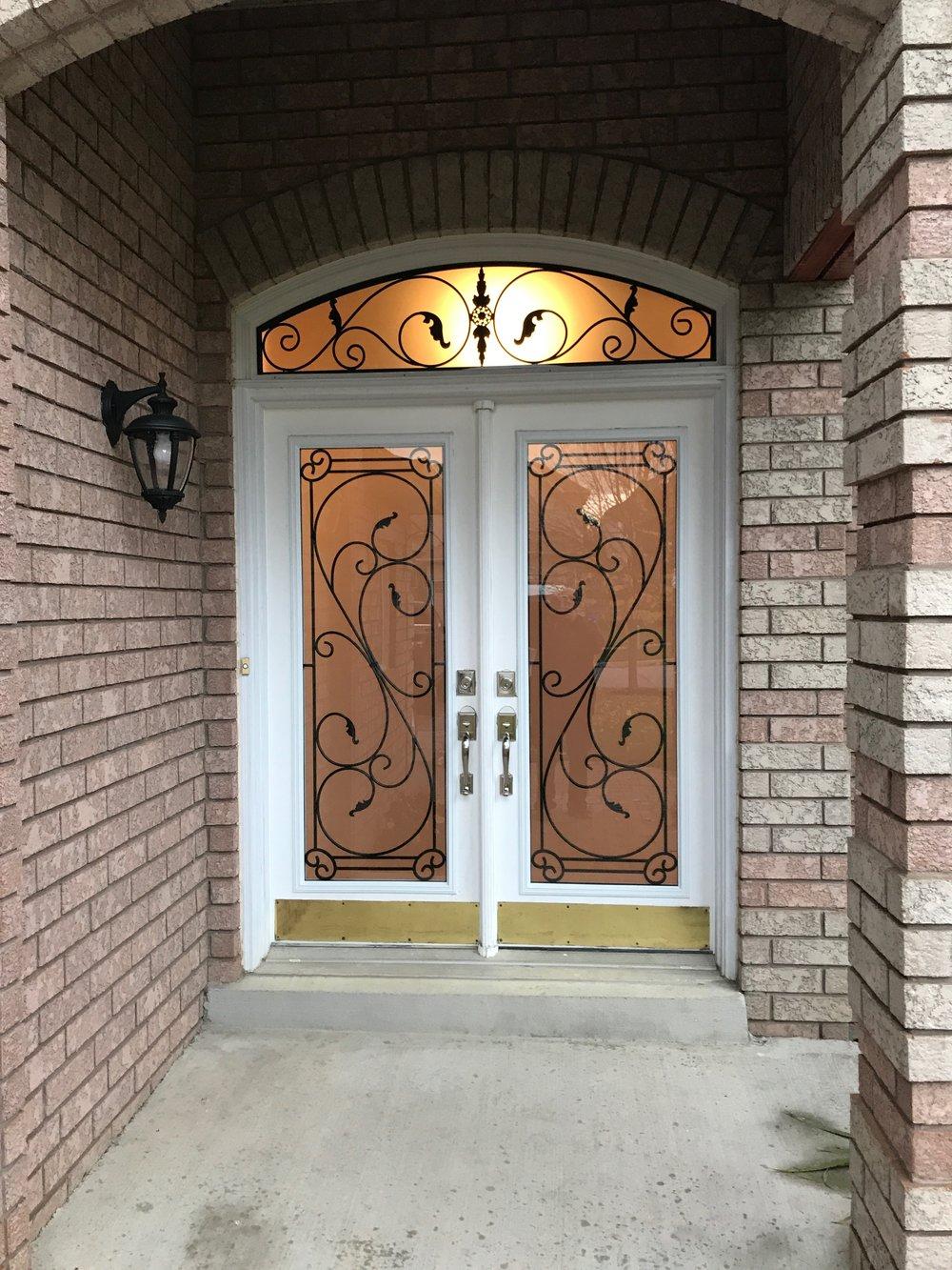 Flamingo-Bay-Wrought-Iron-Glass-Door-Inserts-Ancaster-Ontario