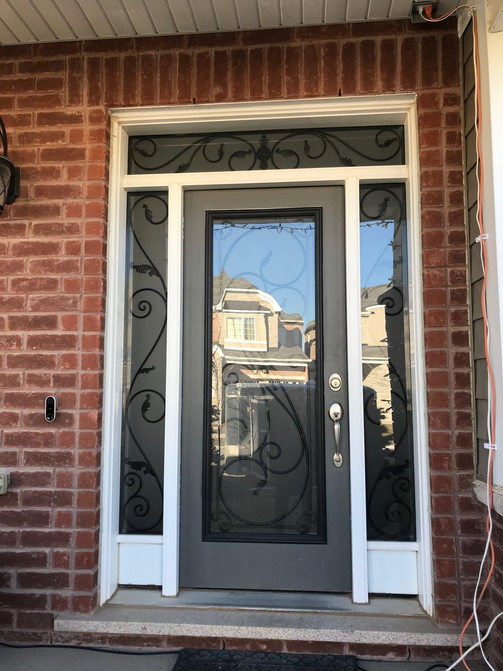 Flamingo-Bay-Wrought-Iron-Glass-Door-Inserts-Oakville-Ontario