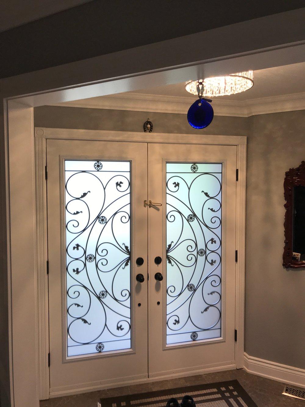 Campbellsford-Wrought-Iron-Glass-Door-Inserts-Newmarket-Ontario