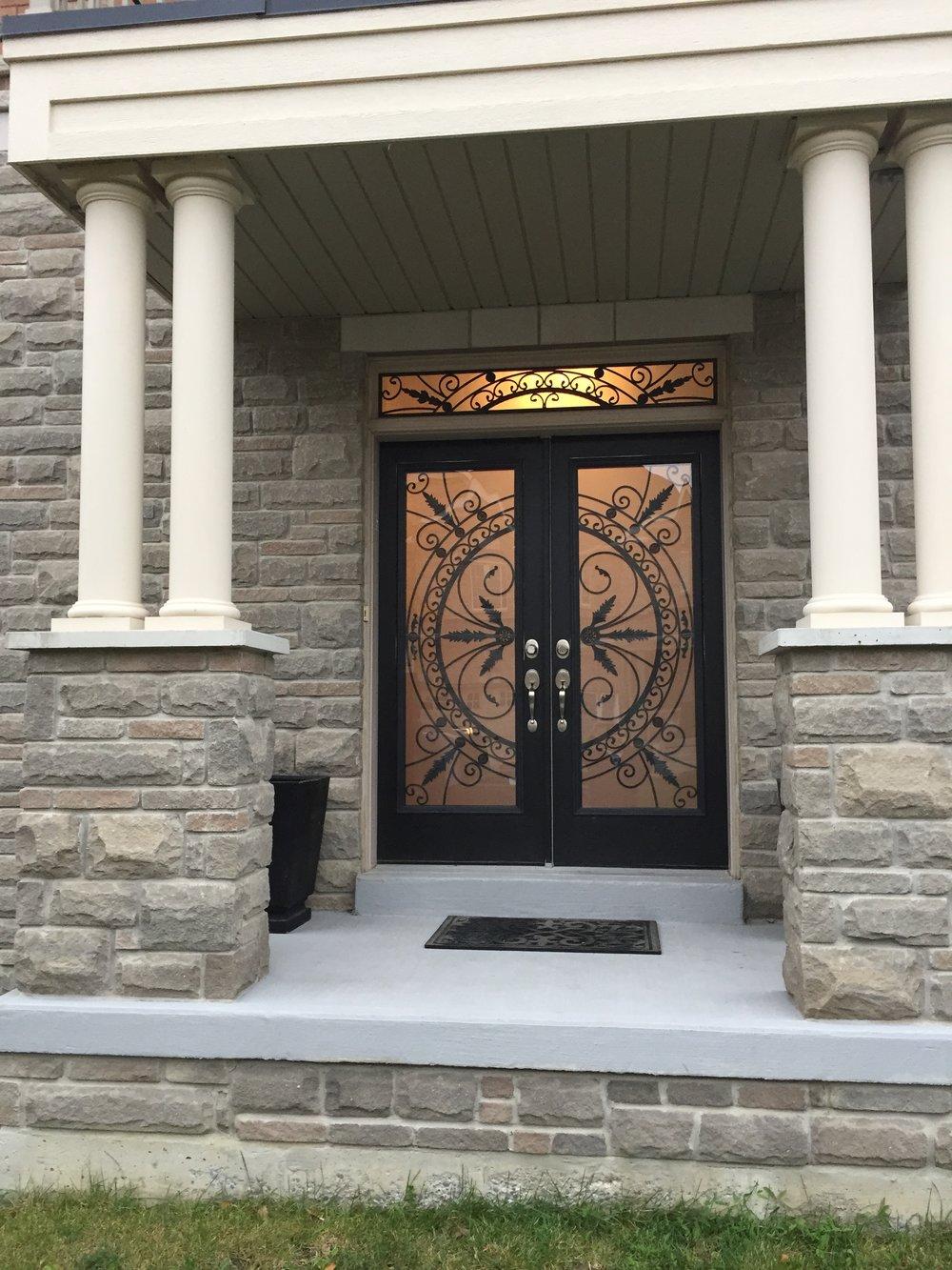 Chesterfield-wrought-Iron-Glass-Door-Inserts-Barrie-Ontario