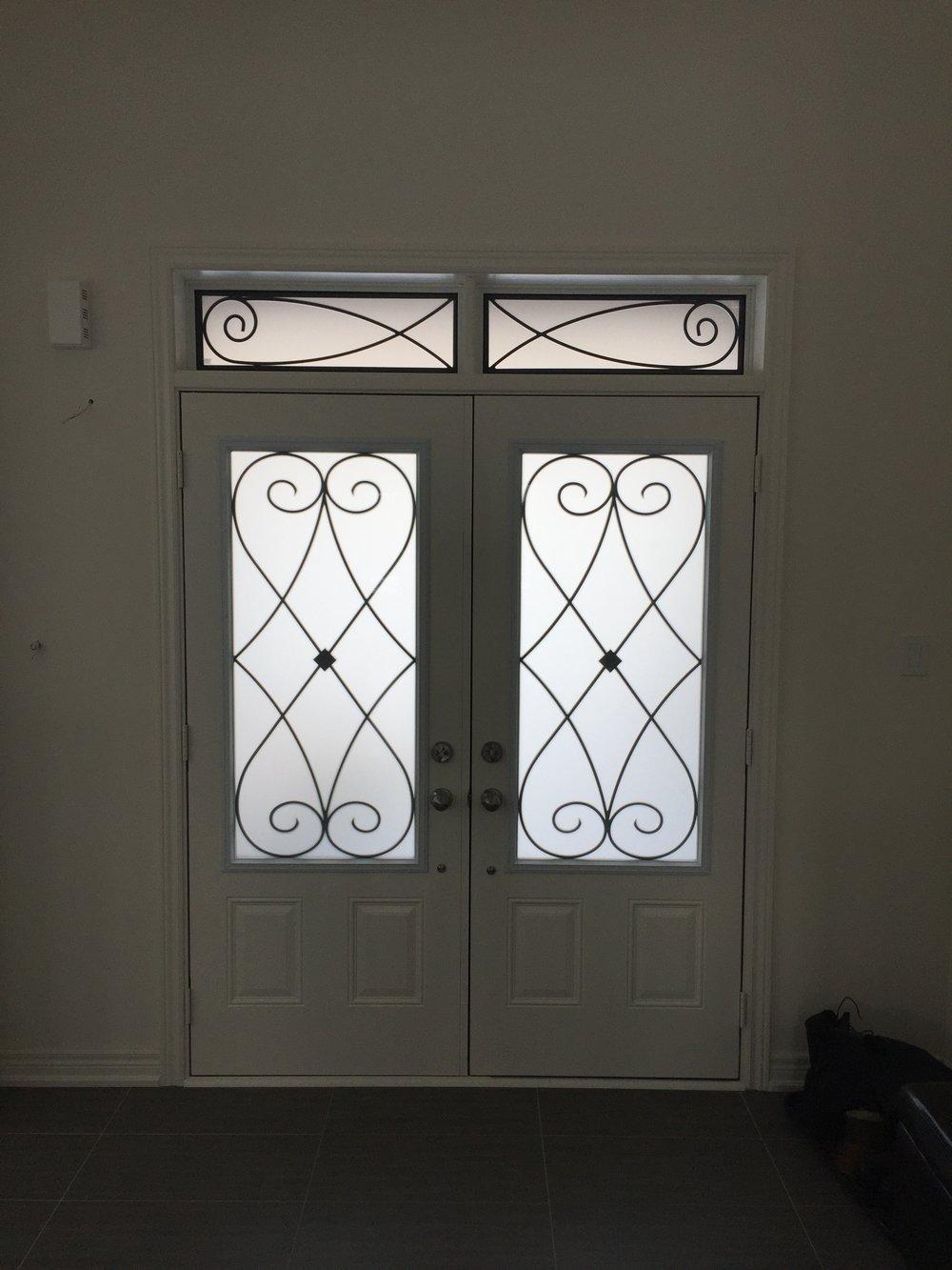 Beverly-Hills-Wrought-iron-Glass-Door-Inserts-Hamilton-Ontario