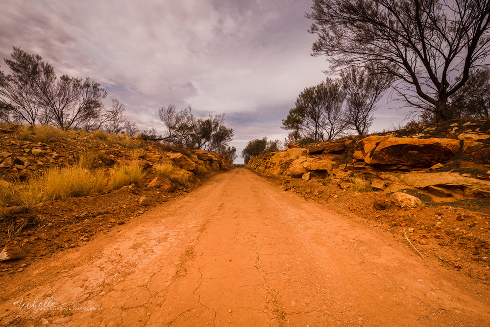 The route alongside the Finke Desert Race track