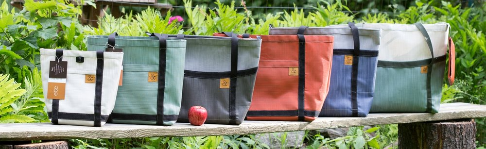&bags from smallest to largest (left to right): MINI, GO, WALK, SHOP, WORK, PLAY