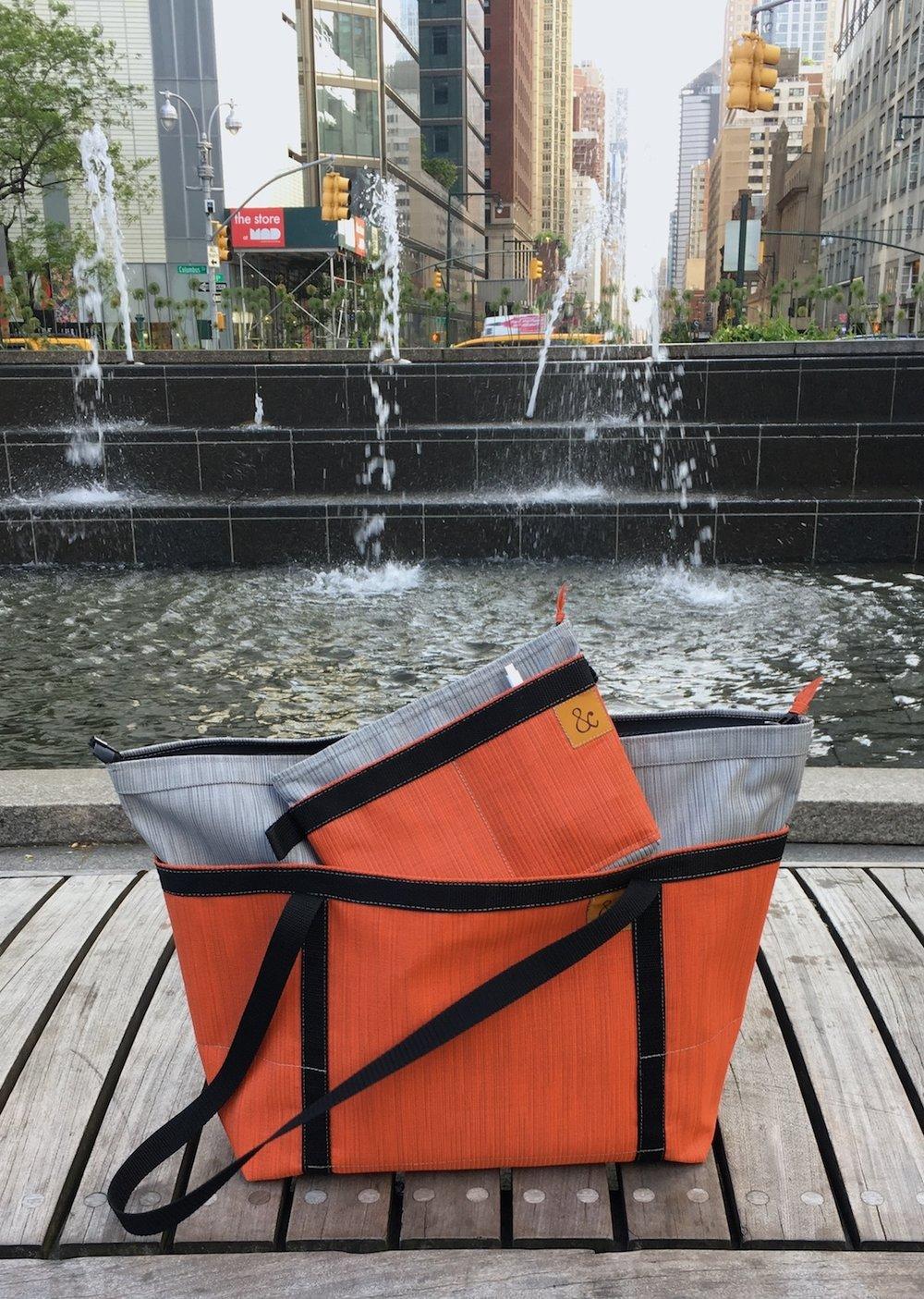 Bags at Columbus Circle fountain copy.jpg