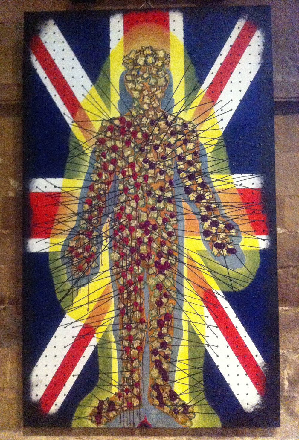 Hawthorn Man Oil on canvas 2013 on show in Southwell Minster in the Seed Blood Exhibition 2014 commemorating-the beginning of the First World War