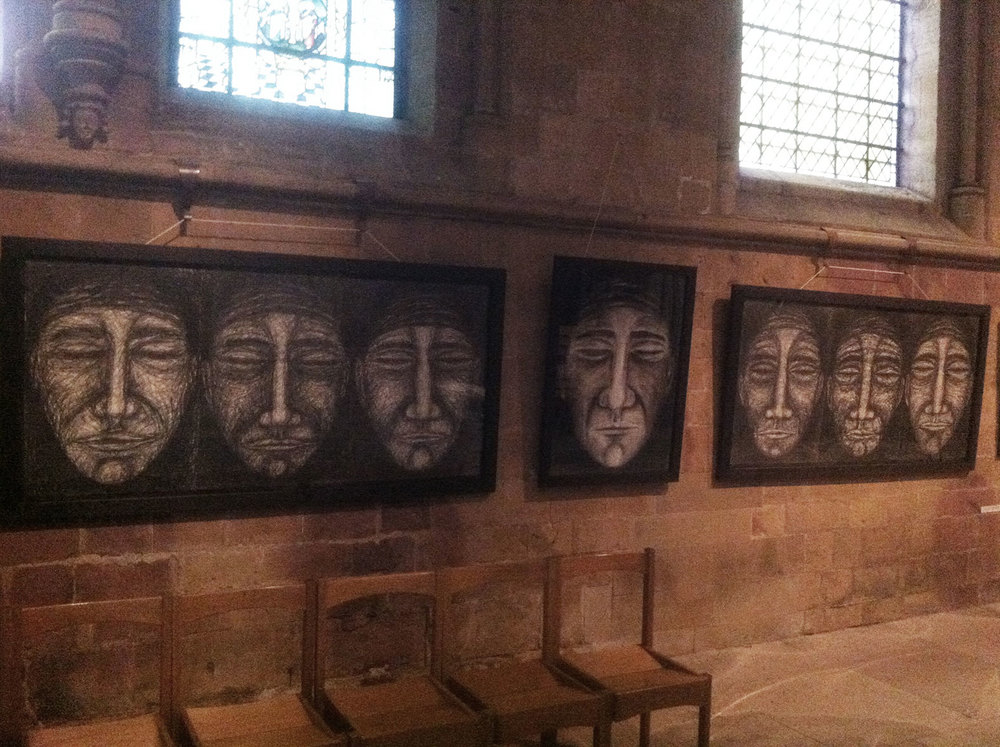 Memorial Heads in the Southwell Minster Seed Blood Exhibition 2014