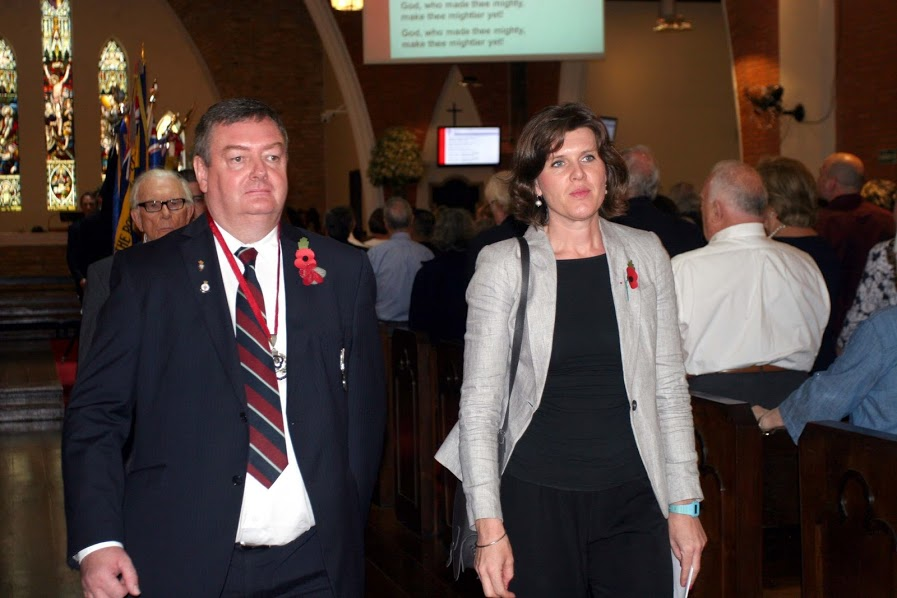 The photograph above shows the RBL President – Paul McMahon escorting the H.M. Consul General Jo Crellin out of the cathedral at the end of the service.