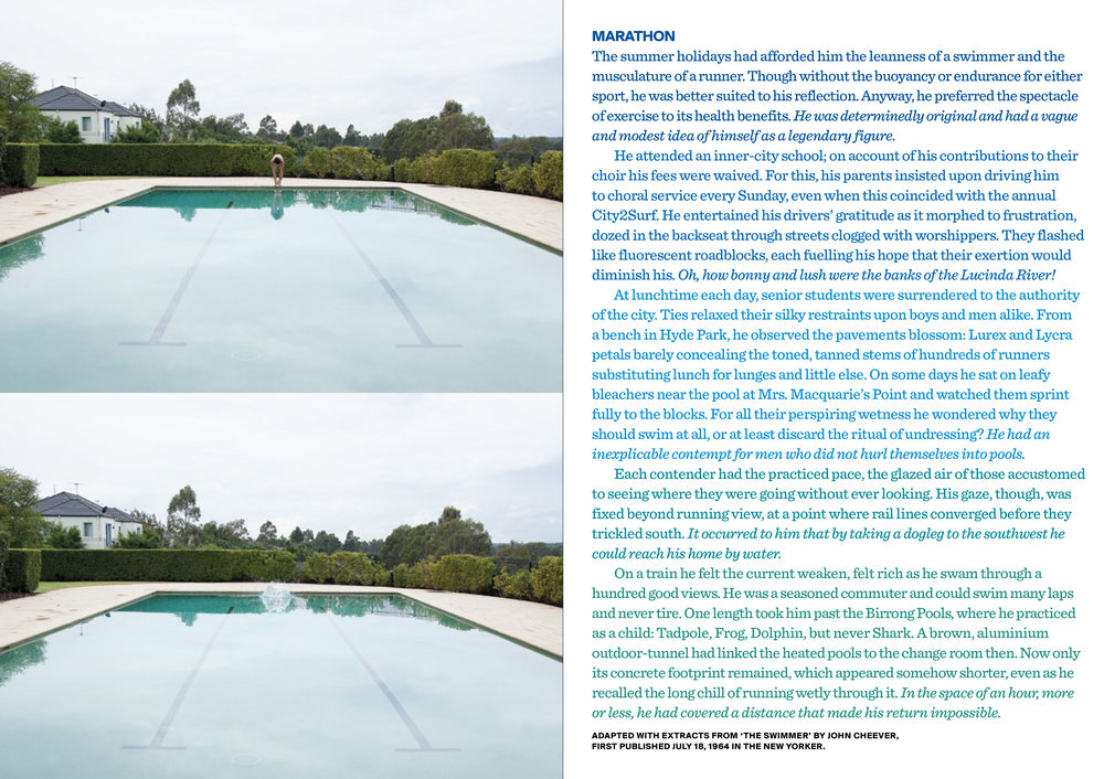 Marathon , 2013. Text with photographs. Original photography: Hugh Marchant. Copyright JD Reforma