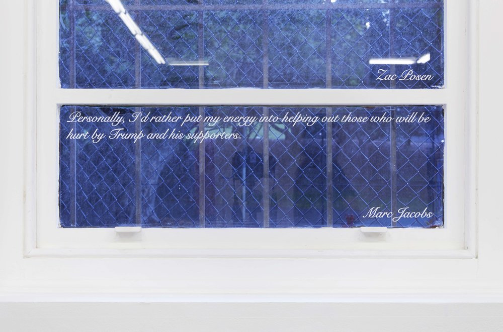 Declaration of Independence , 2017, site-specific computer-cut adhesive vinyl, text quoted from American designers' responses to the question of dressing Melania Trump, installation view,  Coconut Republic , Firstdraft, Sydney. Photo: Zan Wimberley. Copyright JD Reforma
