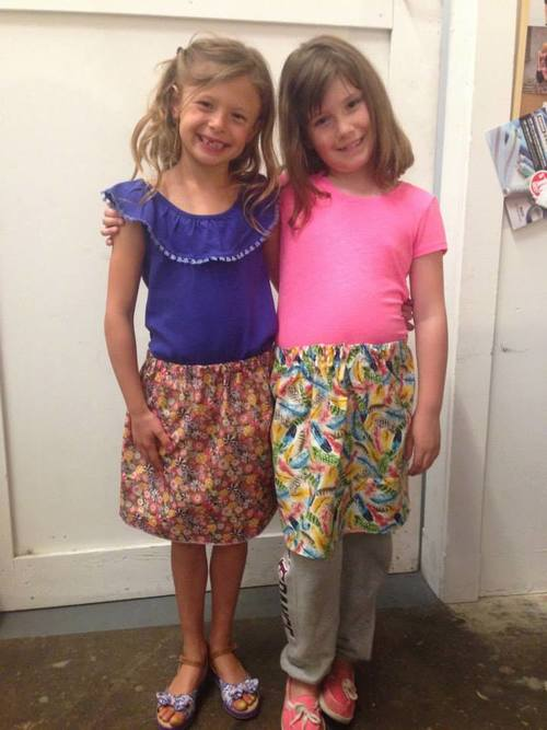 Elastic waist girls skirts made in friends sewing class