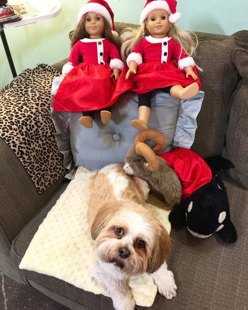 Matching red skirts for dolls and stuffed animals