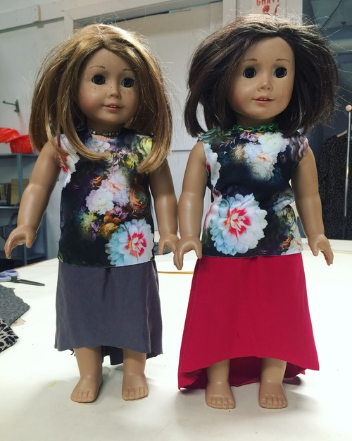 Matching tops and jersey skirts for the dolls
