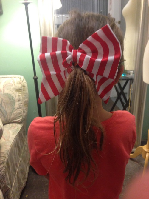 Striped hair bow with clip attached