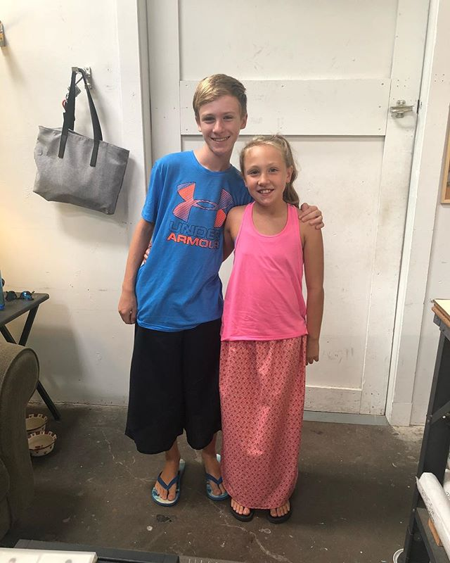 #sewingwithtess sweet brother and sister made their first sewing projects on a machine. So proud of their skirt and capri pants! 👏🏽