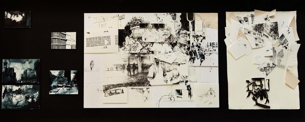Audrey Anderson. Commute Quest. 2016. Ink on paper, 80 x 150 cm