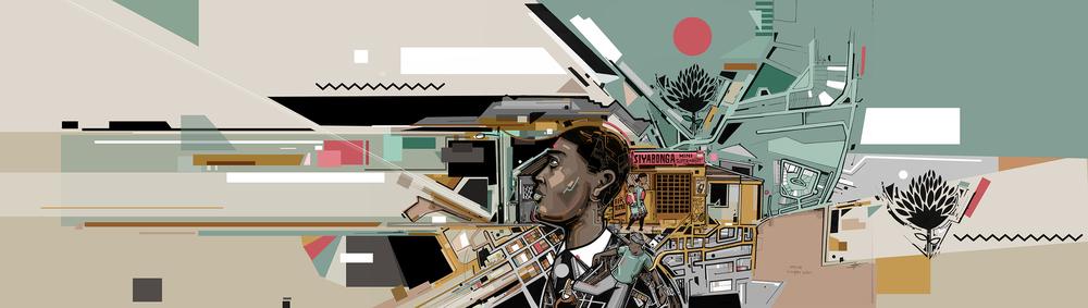 Wesley van Eeden. Untitled. 2016. Pen and digital illustration, 20 x 60 cm