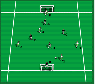 4 v 4 shooting game with keepers