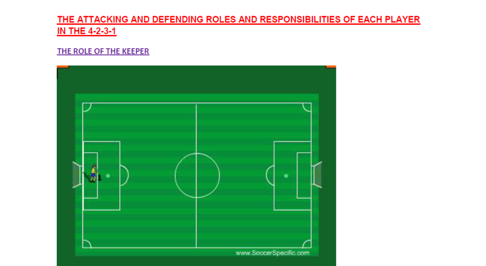 The Attacking and Defending Roles and Responsibilities of Each Player in the 4-2-3-1