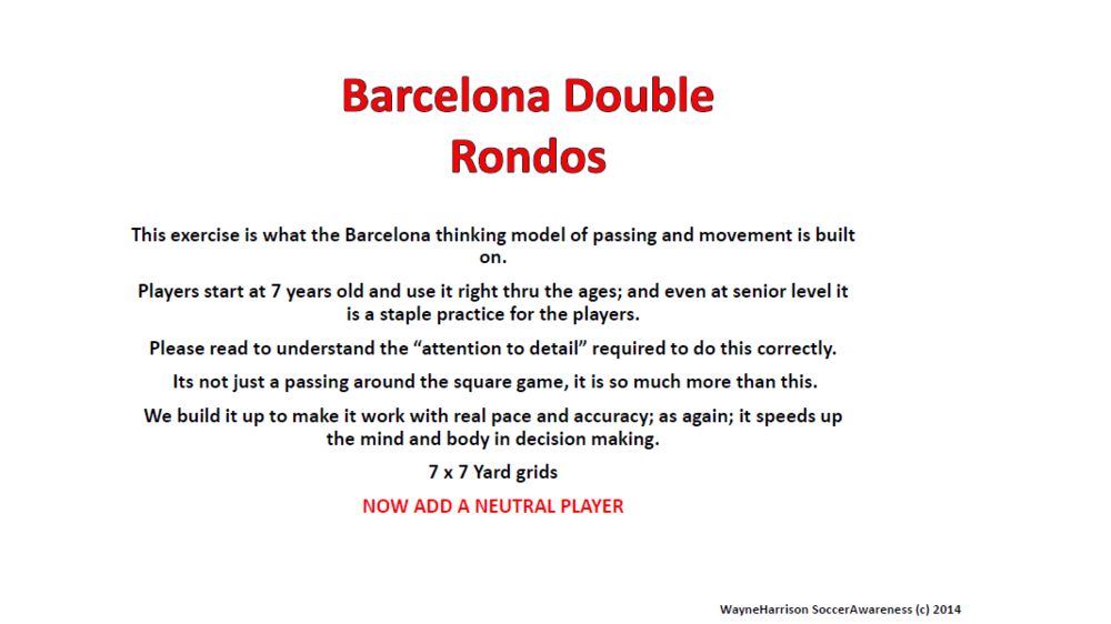 Barcelona Double Rondos with a Neutral Player Added