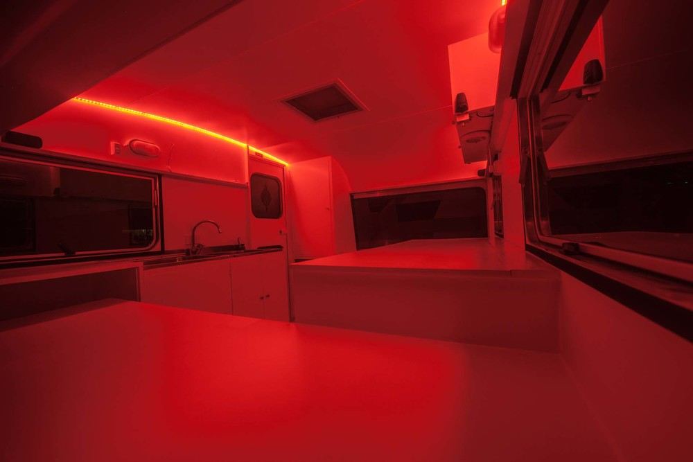 Darkroom under red lights