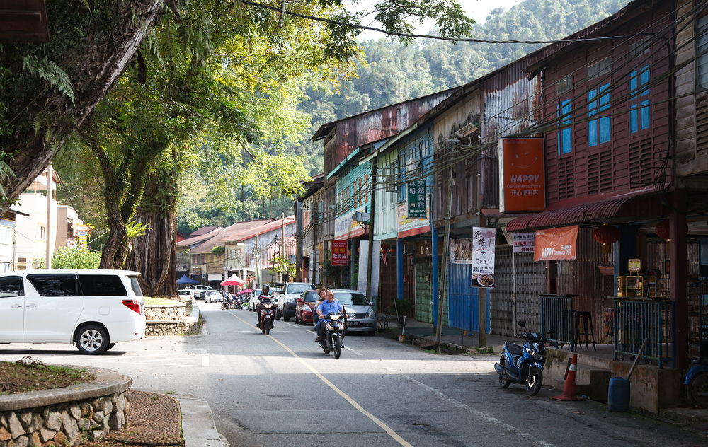 Getting ready for the weekend: along Sungai Lembing's main street.
