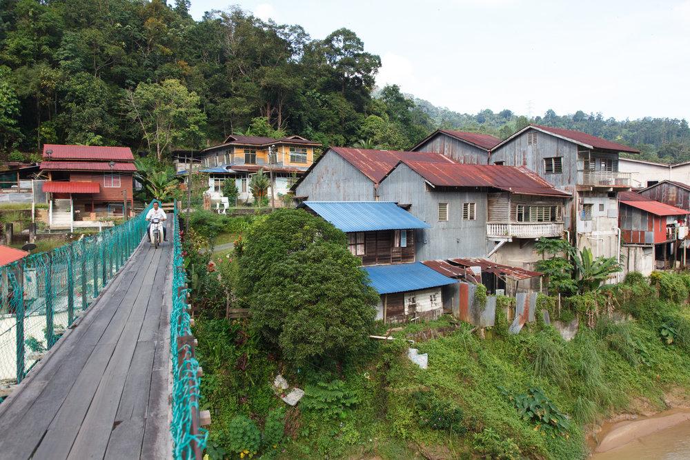The hanging bridge at Kampung Kolong Pahat, constructed over a century ago.