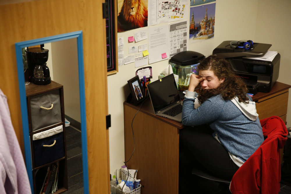 Seventeen-year-old Grace Edens studies late into the night in her dorm room at Craft Academy for Academic Excellence in Science and Mathematics, a program at Morehead State University. The academy selects high-achieving teenagers from across Kentucky to enroll as college students and pursue careers in STEM fields.