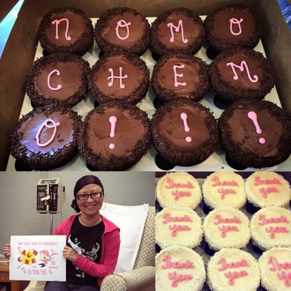 One year ago today, celebrating my final chemo day! Top and Bottom Right: Cupcakes for my amazing oncology team; Bottom Left: Holding my awesome final chemo day poster (illustrated by my amazingly talented boyfriend), wearing my signature headscarf & my David Bowie t-shirt 😢💔, (now poignantly) representing me kicking cancer's ass.
