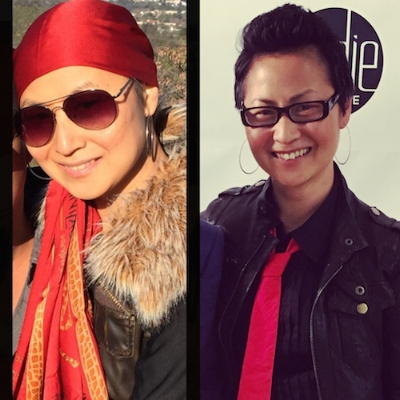 Left: Wearing one of my signature scarves during my chemotherapy phase; Right: A year later, at my first fashion event, after my final breast cancer surgery.