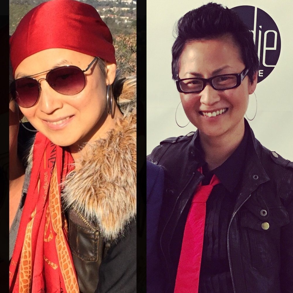 Left: Me during chemotherapy, wearing one of my signature scarves; Right: At my first fashion event, shortly after my final breast cancer surgery.