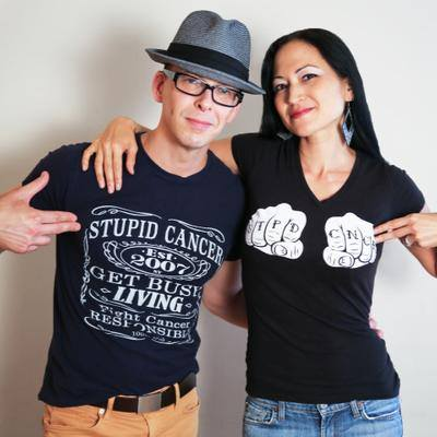 Kiku & David rocking their t-shirts from my friends at  Stupid Cancer . (Fun fact: David's tee was designed by my awesome friend, author/musician/cancer survivor + advocate  Rob Rufus !) Photo: Lynn Redmile