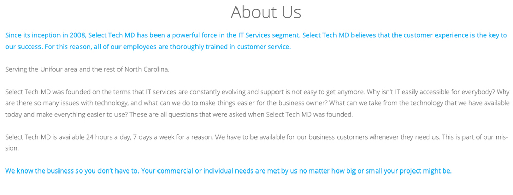 Select Tech MD - About