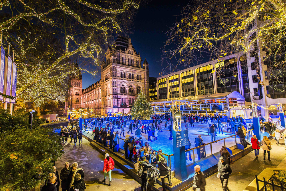 Natural History Museum ice rink at night