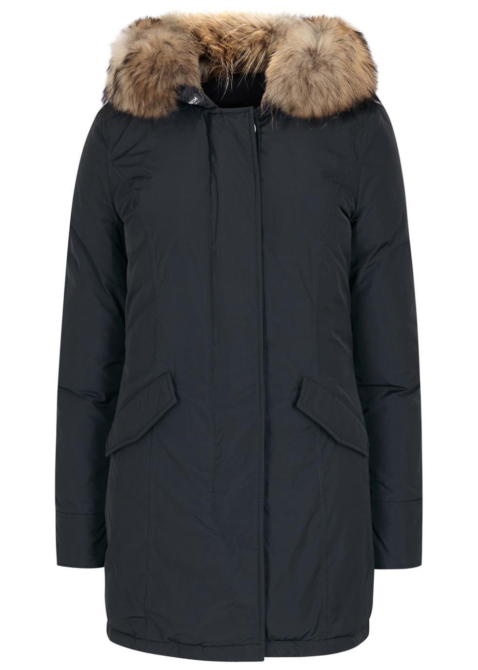 Woolrich luxury arctic navy fur-trimmed parka- £630 from Harvey Nichols.jpg