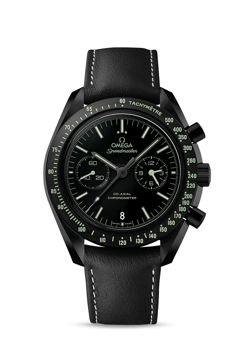 Ceramic Omega Speedmaster Dark Side of the Moon Edition Fully Automatic with a Fabric Strap.png