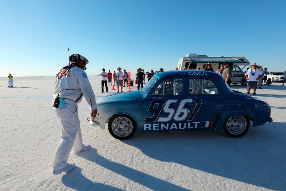 Nicolas PROST BEHIND THE WHEEL OF RENAULT DAUPHINE.JPG