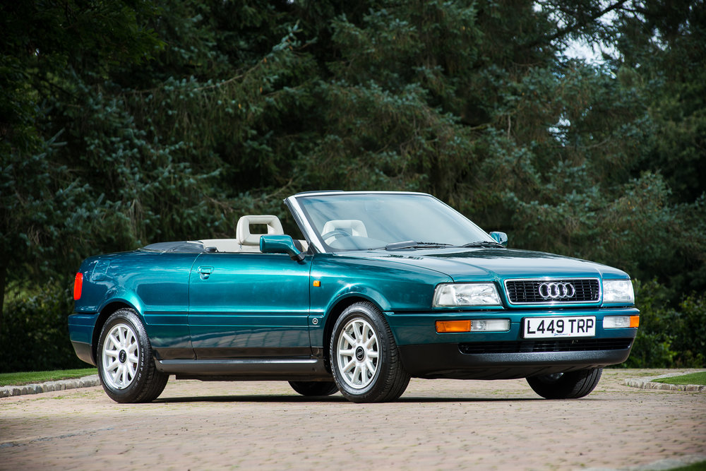 1994 Audi Cabriolet - The Personal Conveyance of Diana Princess of Wales front angle top down.jpg